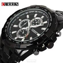 Luxe noir Curren plein acier montre à quartz hommes décontracté militaire montre bracelet robe étanche horloge mâle Relogio Masculino 2017