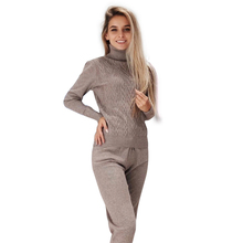 MVGIRLRU Womens tracksuit suits twisted knitted sets turtleneck pull femme and pant two piece outfits Female