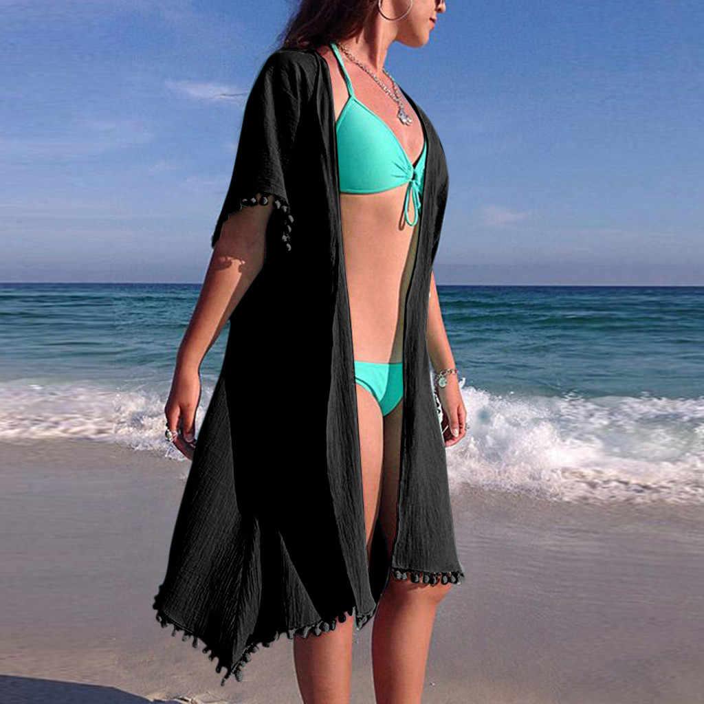 2020 Beach Cover-Up Kasual BoHo Wanita Gaun Solid dengan Tessel Chiffon Mini Pareo Chiffon 2020 Wanita Seksi baju Renang Cover-Up