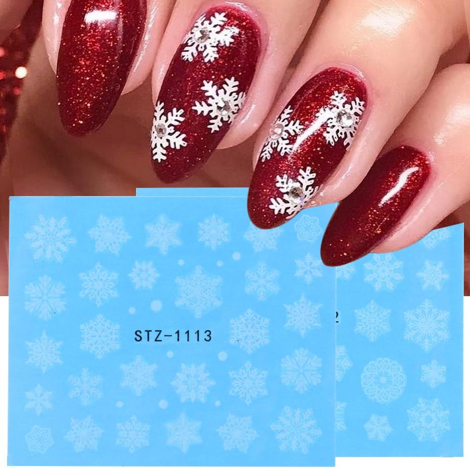 Зимние белые наклейки для ногтей Рождественские снежинки Переводные переводные наклейки слайдеры маникюрные украшения для ногтей TRSTZ1098-1113