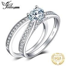 JPalace CZ zestaw pierścionków zaręczynowych 925 srebro pierścionki dla kobiet rocznica obrączki obrączki zestawy ślubne srebro 925 biżuteria