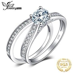 Image 1 - JPalace CZ zestaw pierścionków zaręczynowych 925 srebro pierścionki dla kobiet rocznica obrączki obrączki zestawy ślubne srebro 925 biżuteria