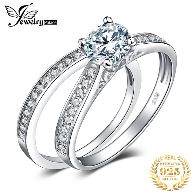 JewelryPalace 1.3ct Cubic Zirconia aniversario boda compromiso solitario anillo nupcial establece 925 joyería de plata esterlina