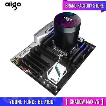 Aigo shadow CPU Cooler 4pin pwm aura sync 5 tubos de calor de cobre puro sistema de refrigeración de la torre de congelación CPU refrigeración led rgb ventilador radiador