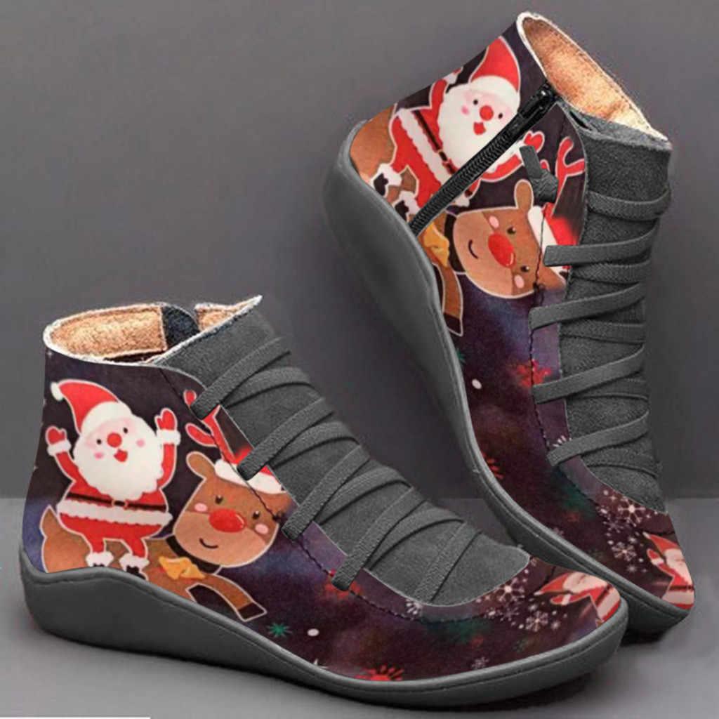 2019 yeni kış ayakkabı kadın botları noel baskılı noel baba çizmeler kadın yarım çizmeler kadın kışlık botlar rahat patik