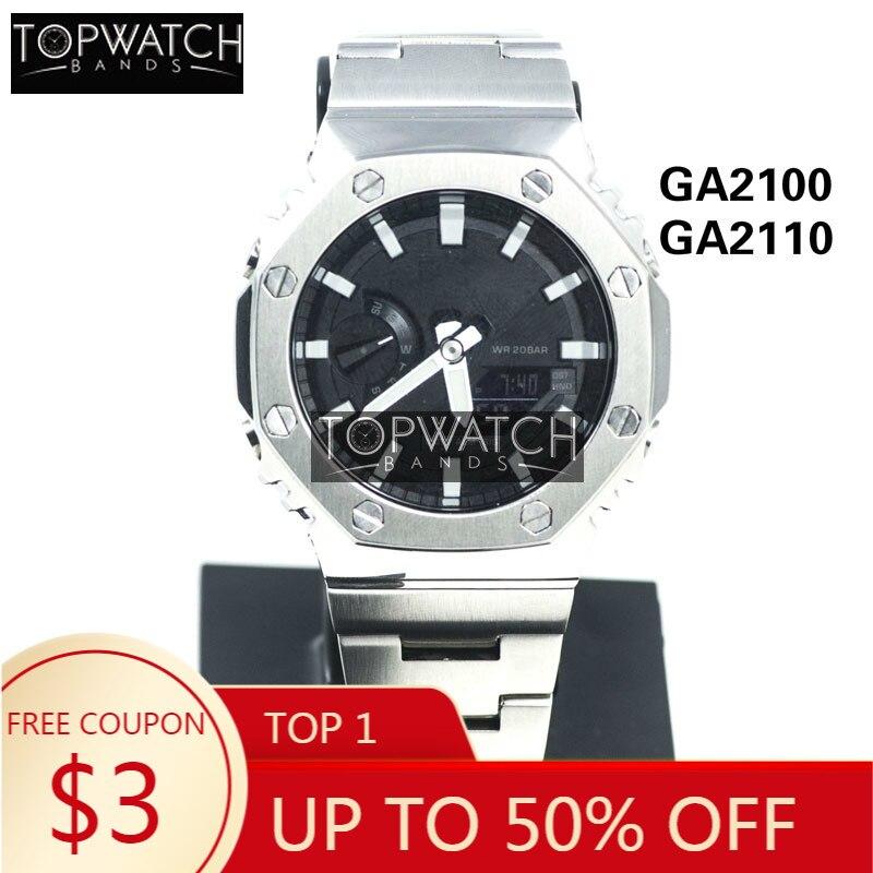 GA2100 GA2110 Silver Black Set Watch Modification Watchband Bezel Stainless Steel Watch Band Strap Case Metal Bracelet GA-2100