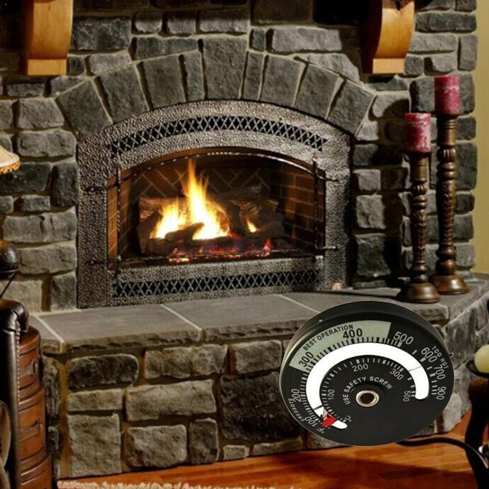 1 Pcs Fireplace Thermometer Wood Log Burning Stove Quality Aluminum High Fire Pipe Heater Flue Alloy E7U0