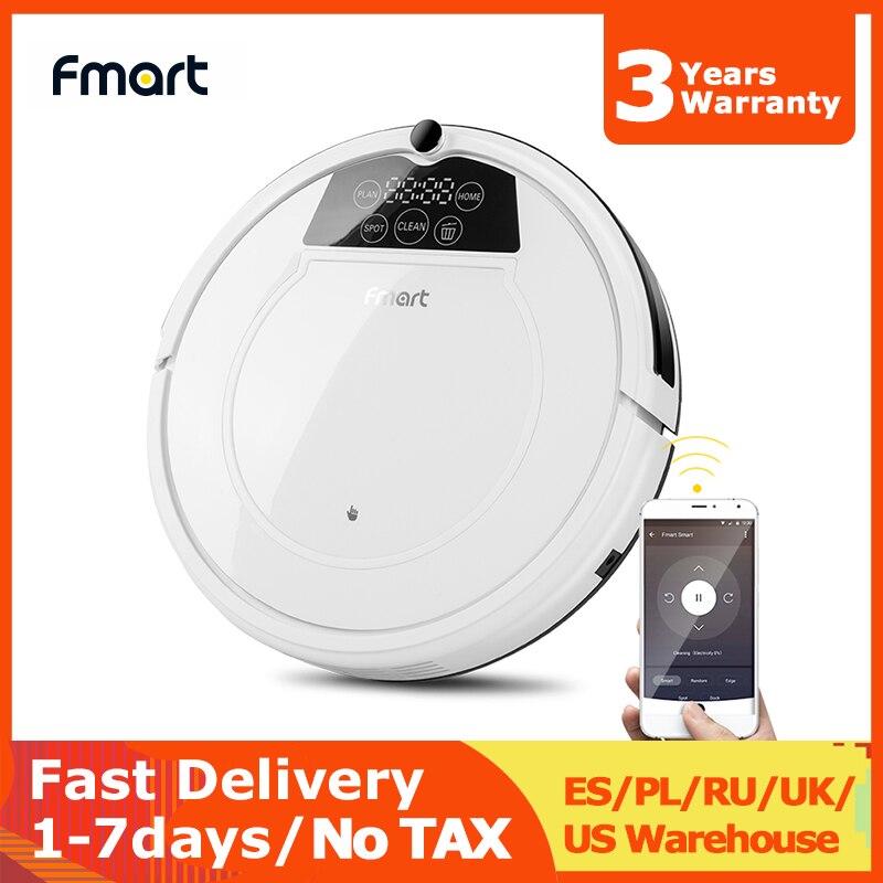 Fmart robô aspirador de pó varredura & molhado mop para pisos duros & tapete pet cabelo anti colisão recarga automática wifi E-R550W (s)