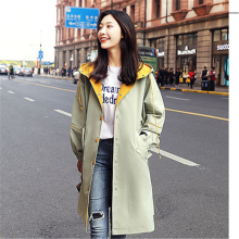 Korean Women Trench Coat Fashion casual Hooded Windbreaker Print Single Breasted