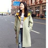 Korean Women Trench Coat Fashion casual Hooded Windbreaker Print Single Breasted Lightweight Raincoat Outerwear Female Plus size