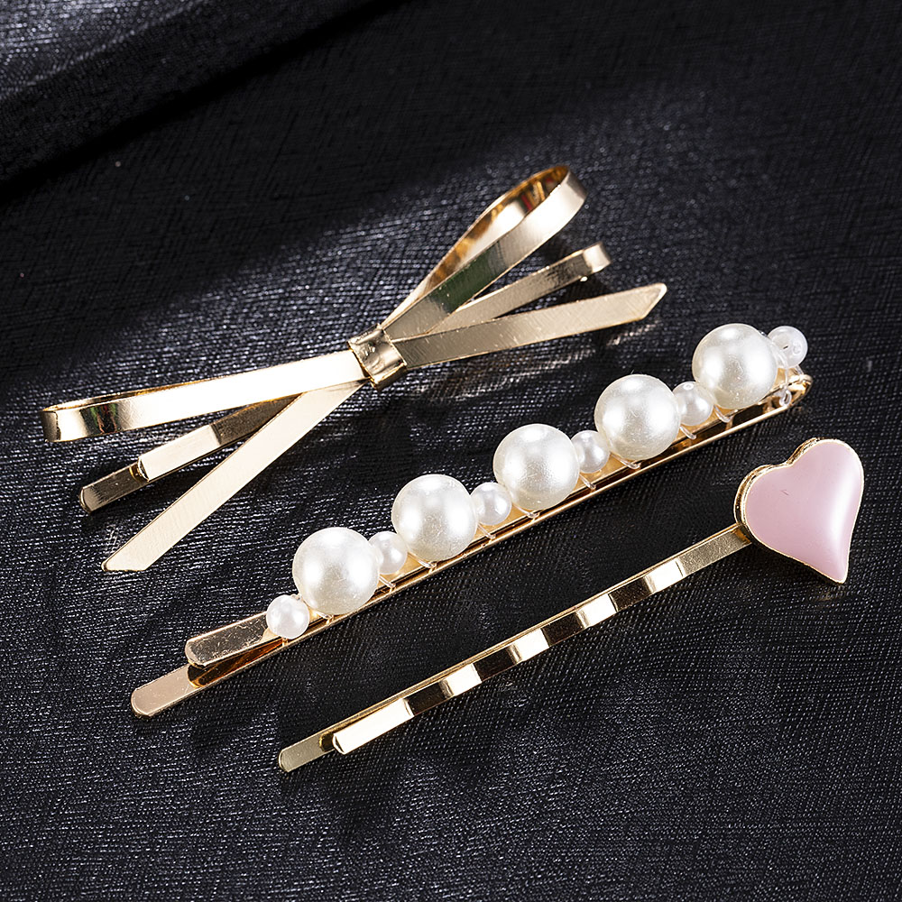 3pcs Imitation Pearl Beads Simple Barrettes Fashion Hair Accessories Hair Clips Hairpins for Women Girls Wedding Decoration 2020