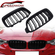 SPEEDWOW Car Front Grille Racing Sport Grills Gloss Black Double Slat Kidney Grille Parts For BMW 3 Series F30 F31 F35 2013-2019