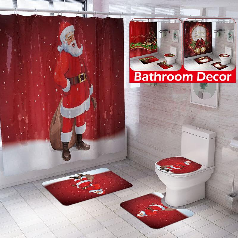 2018 Merry Christmas Santa Claus Toilet Seat Cover Rug Bathroom Set Indoor Decor Other Christmas Winter Décor Holiday Seasonal Décor