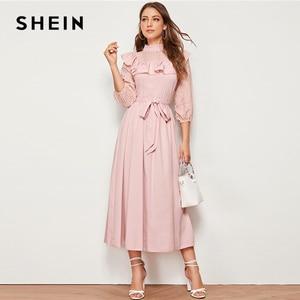 Image 3 - SHEIN Mock neck Rüschen Trim Selbst Belted Kleid Frauen Frühling Herbst Lange Kleid Fit und Flare EINE Linie Elegante reich Kleider