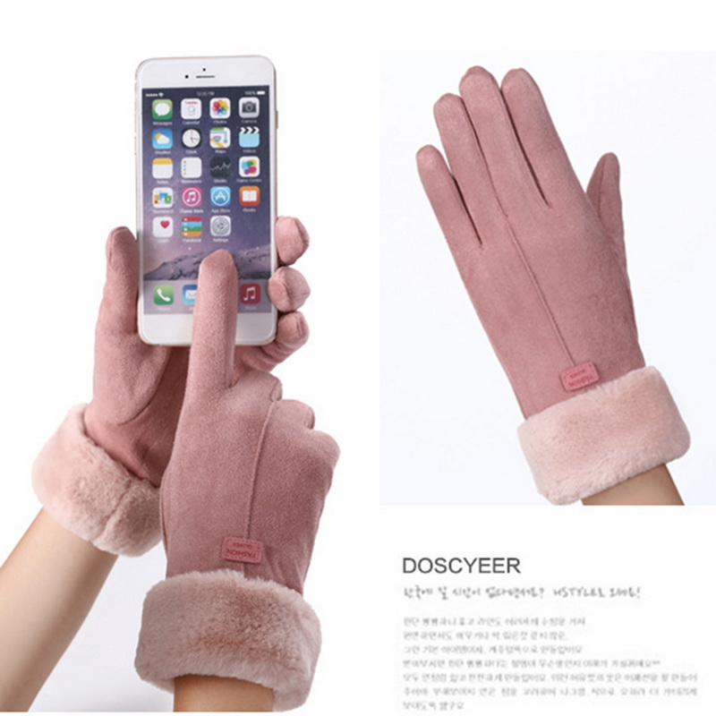 New Fashion Women Gloves Autumn Winter Cute Furry Warm Mitts Full Finger Mittens Women Outdoor Sport Female Gloves Screen