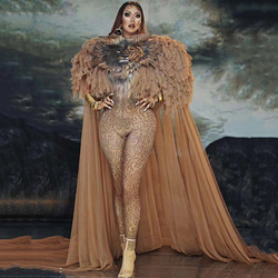 Neue Heiße Verkauf Tiger Muster Overall Frauen Singer Sexy Bühne Outfit Bar DS Dance Cosplay Body Kostüm Prom Modell Zeigen kleidung