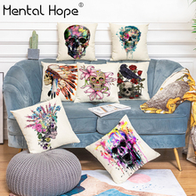 Braincase Feather Printed Linen Cotton Cushion Cover Flower Pattern Throw Pillow Cover Home Decor Square Pillowcase for Sofa Bed