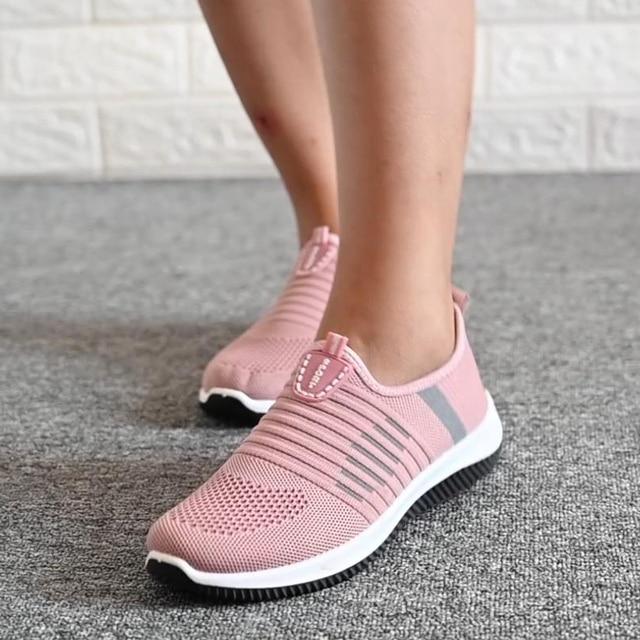 Mulher sapatos planos de malha mulher casual deslizamento em sapatos vulcanizados malha feminina macia respirável calçados femininos para senhoras sapatilha