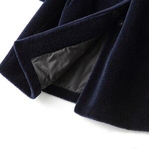 Image 4 - AYUNSUE veste dhiver pour femme, manteau de fourrure de renard, longue manteau en laine 100%, grande taille, XESD1811