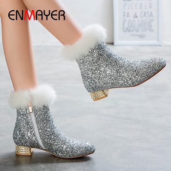 ENMAYER Square Heel Solid Bling Sequined Ankle Boots for Women Round Toe Platform Catwalk Shoes Silver women boots