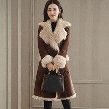 New Women Double-faced Fur Coat Winter 2019 Fashion Faux Leather Fur-Collar Windbreak Thicker Warm Long Jacket Outerwear Female contrast faux fur collar double layered hem coat