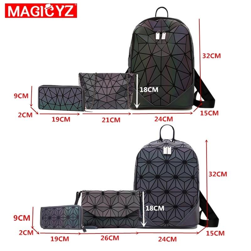 Image 5 - Women Backpack Luminous Geometric Plaid Female Backpacks For Teenage Girls Bagpack Bag Holographic Backpack School Mochila-in Backpacks from Luggage & Bags