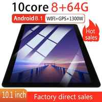 KT107 rond trou tablette 10.1 pouces HD grand écran Android 8.10 Version mode Portable tablette 8G + 64G noir tablette