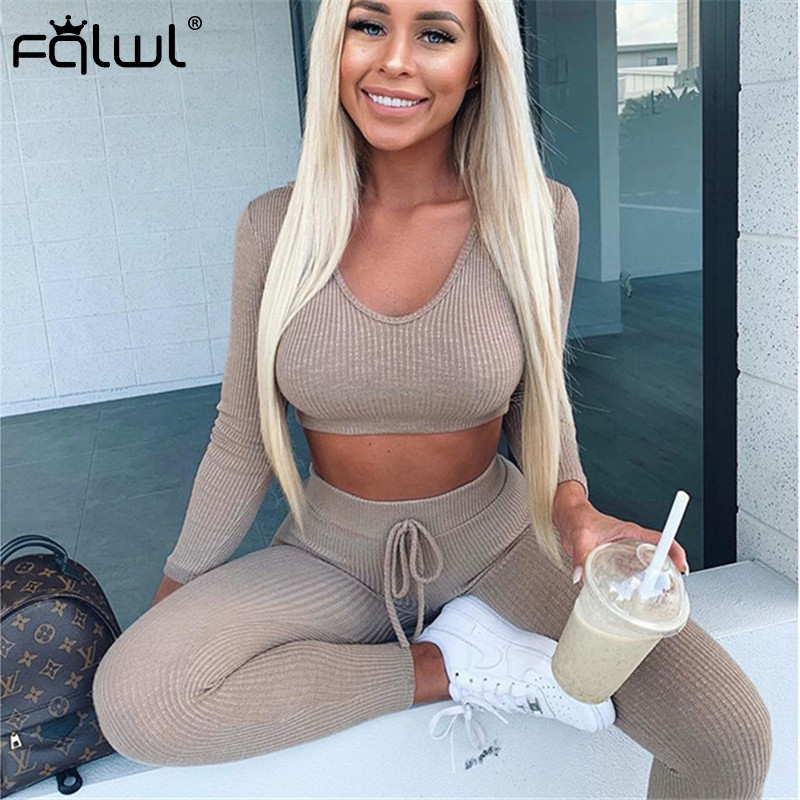 FQLWL Two Piece Set Women Club Outfits Ribbed Knitted Suit Long Sleeve Crop Top And Skinny Pants Female Tracksuits Women Set
