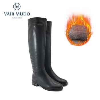 VAIR MUDO Winter Motorcycle boots Fashion Women Shoes Black Low Heels Knee-High Boots Keep Warm Genuine  ZT40