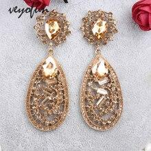 Veyofun Luxury Rhinestone Drop Earrings Fashion Crystal Hollow out Dangle Earrings Accessories for Women Jewelry stylish rhinestone hollow out elastic bracelet for women