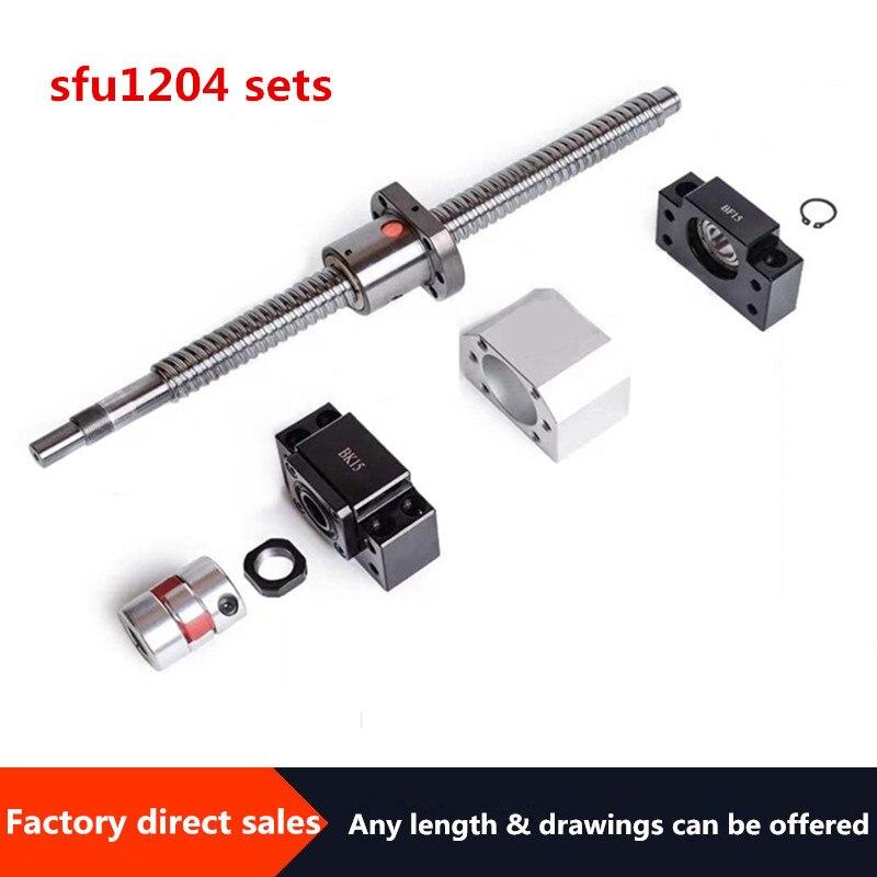 Jeu de vis à bille de 12mm | Vis à billes SFU1204 usinée + RM1204 écrou à bille + BK10 BF10 Support de fin + coupleur + boîtier d'écrou DSG12H