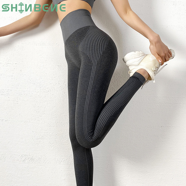 $ US $19.69 SHINBENE Seamless Tummy Control Sport Workout Fitness Leggings Women High Rise Quick Dry Running Athletic Gym Tights Yoga Pants