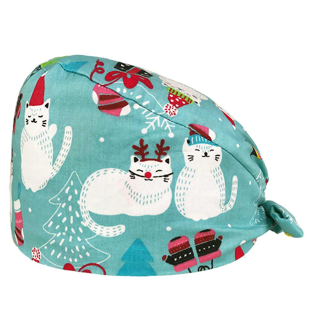 جديد لطيف فرك قبعات عالية الجودة القرع قبعة عيادة مستشفى الأسنان الجراحية مختبر الصيدلة قبعات طبية الأزهار القبعات الجراحية