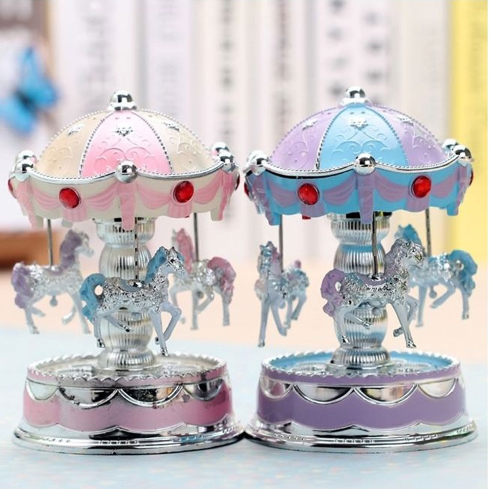 Horse Carousel Music Box Toy Light Clockwork Musical Boxes Gifts Vintage