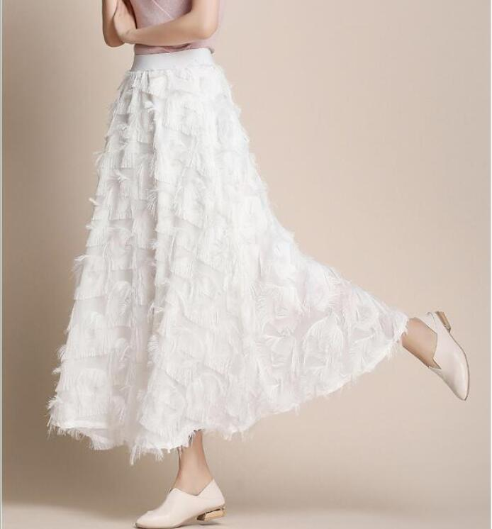New Summer Long Skirt Women  Spring Feather Tassel Skirts Female Elegant Runway Skirt Maxi Party Jupe Faldas Largas Mujer