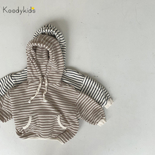 Koodykids Baby Girl Autumn Stripe Hooded Coat Toddler Boy Girl Spring Clothes Outfit Long Sleeve Shirt Hooded Stripe Coats