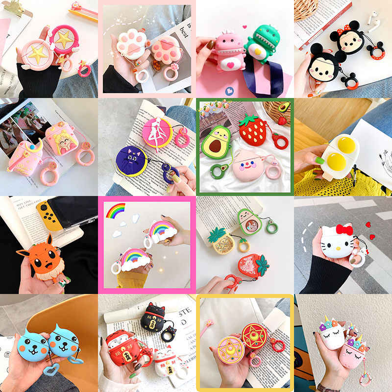 Drop Ship Cartoon Anime Keychain Anti-fall Cute Silicone Case For Apple Airpods 1 2 Case Accessories Earphone Bluetooth Cover