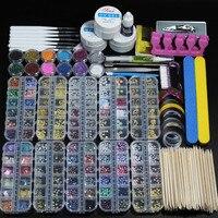 12 szt. for10 box pyłek do paznokci akrylowych zestaw do manicure z brokatem do zestawu do zdobienia paznokci zestaw do dekoracji kryształów rhinestone pędzle