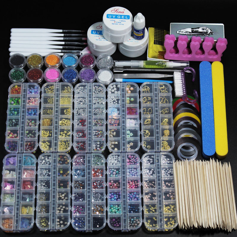 12 Piece For10 Box Nail Acrylic Powder Glitter Manicure Set For Nail Art Kit Gems Decoration Crystal Rhinestone Brush Tools Kit