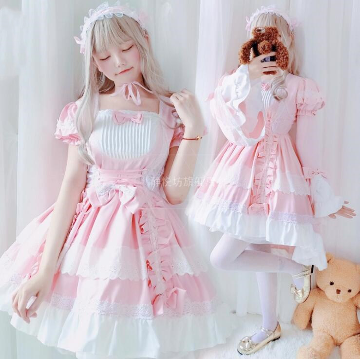 Cosplay <font><b>lolita</b></font> maid sweet <font><b>lolita</b></font> dress retro lace bowknot flare sleeve swallowtail victorian dress kawaii girl gothic <font><b>lolita</b></font> op image