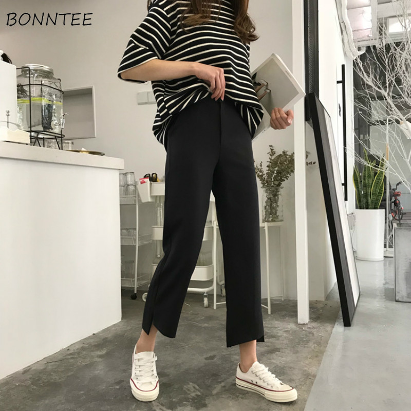 Pants Women Korean Style Leisure Breathable Simple All-match Chic Womens Ankle-length Solid High Quality Comfortable High Waist