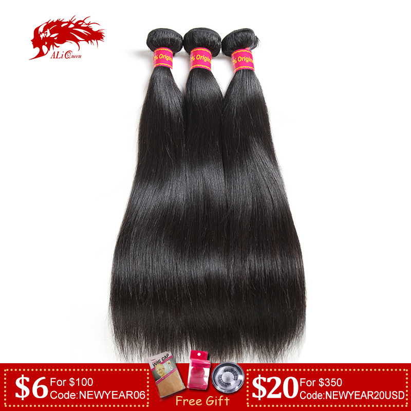 Weave Hair Bundles Ali-Queen Straight Hair-Unprocessed Brazilian Natural-Color Lot 3pcs title=