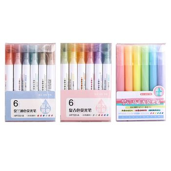 6pcs/set Highlighter Pen Pastel Fluorescent Marker Pens for Journaling School Office Supplies 6 Colors