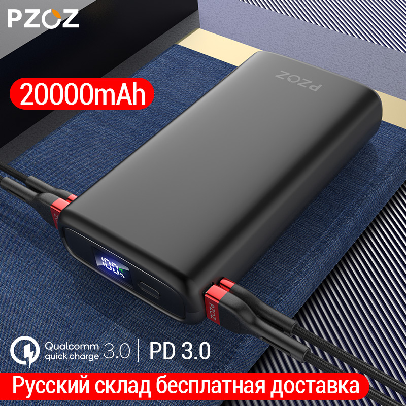 PZOZ 20000mAh Power Bank USB C PD Fast Charger For IPhone Samsung Xiaomi Type C Quick Charge 3.0 USB Powerbank External Battery