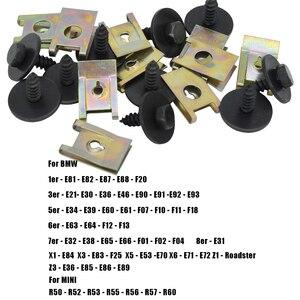 Image 5 - 40pcs Chassis Engine Guard Metal Nut/Screw Washers U shape Clip Car Fender Bumper Cross Head Screws For BMW E46 E92 E90 F10