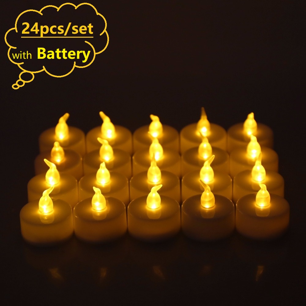 Rantion 24packs Flickering Led Candle Flameless Electric Battery Tea Candles Led Lights Wedding Party Xmas Holiday Decor|Candles|   - AliExpress