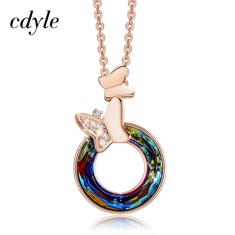 Cdyle Fashion Women's Colorful Crystal Circle Shaped Pendant Necklaces with Micro Pave Zircon Butterfly Jewelry 2019