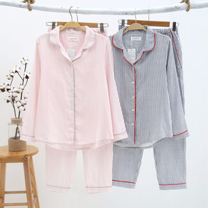 Image 2 - Sleepwear Womens Cotton Home Suit Pajamas Winter Long Sleeve Stripe Pyjama Female Casual Lounge Set Dropshipping