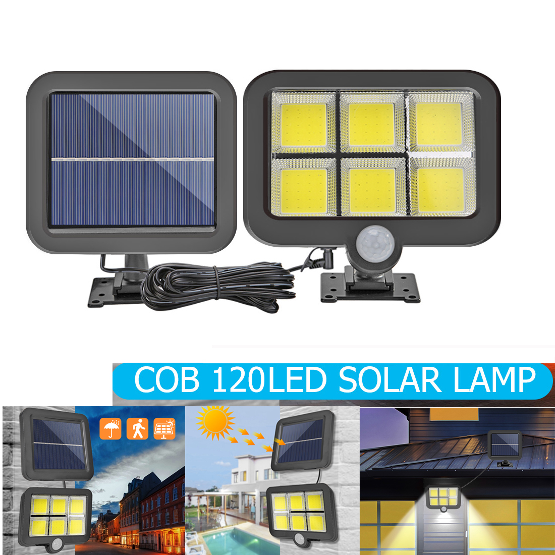 56/100/120LED COB Solar Light Outdoor Lighting PIR Motion Sensor Waterproof Street Light Powered Path Solar Lamp