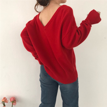 Ailegogo New 2020 Autumn Winter V-Neck pullover Warm Women Sweaters Fashion Sexy Casual Korean Style Female Jumpers SW7113 3